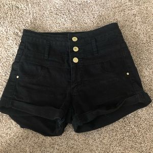 High waisted black three button shorts